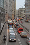 People are riding in cars on the road in Warsaw, Poland Royalty Free Stock Image