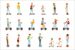 People Riding Electric Self-Balancing Batery Poweres Personal Electric Scooters Whith One Or Two Wheels, Set Of Cartooon Royalty Free Stock Image