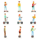 People Riding Electric Self-Balancing Batery Poweres Personal Electric Scooters Whith One Or Two Wheels, Set Of Cartooon Royalty Free Stock Images