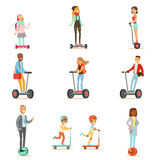 People Riding Electric Self-Balancing Battery Powered Personal Electric Scooters With One Or Two Wheels, Collection Of. Cartoon Characters. Happy Man And Women Stock Photo