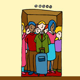 People Riding in Elevator vector illustration