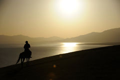 people riding horse at sunrise Royalty Free Stock Photography