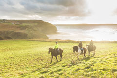 People riding horses in the countryside Stock Photos