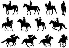 People riding horses silhouettes vector illustration