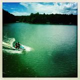 People riding jet ski on Lake Hartwell, Georgia Stock Image