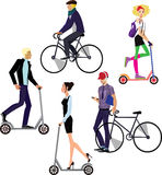 People riding on scooters and bicycles Stock Photos