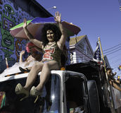 People riding in the 37th Annual Provincetown Carnival Parade in Provincetown, Massachusetts. Provincetown, Massachusetts, USA-August 20, 2015: People riding in Royalty Free Stock Images
