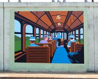 People Riding On A Train Mural On James Road in Memphis, Tennessee. Stock Photos