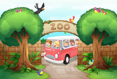 People riding van to the zoo Royalty Free Stock Image