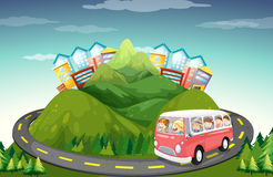 People riding in van up the mountain Royalty Free Stock Image