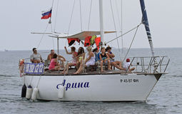 People are riding in yacht nearly seashore of Sochi, Russia Royalty Free Stock Photo