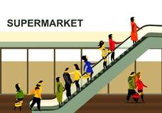 People rise on the escalator Stock Photo