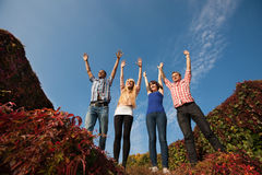 People rise up hands acrosss sky Royalty Free Stock Images