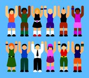 People rising their hands up vector illustration