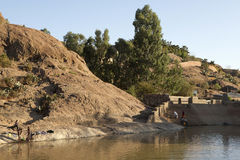 People on the river bank, Ethiopia Royalty Free Stock Images