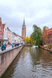 People on  the river of the Belgian city of Bruges Royalty Free Stock Photo