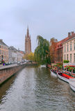People on river of Bruges Royalty Free Stock Photo