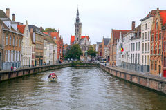 People on river of Bruges Royalty Free Stock Photos