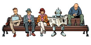 People and a robot sitting on a Park bench stock illustration