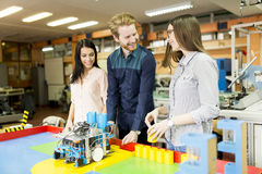 People in the robotics classroom Royalty Free Stock Image