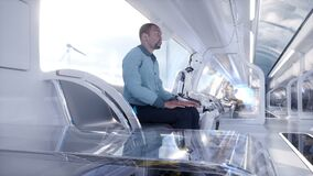 People and robots. Futuristic monorail transport. Concept of future. Realistic 4K animation.