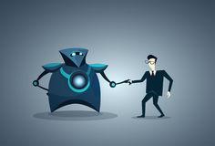 People And Robots Handshake Modern Human And Artificial Intelligence Futuristic Mechanism Technology Royalty Free Stock Image
