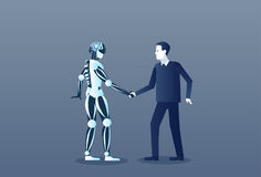 People And Robots Handshake Modern Human And Artificial Intelligence Futuristic Mechanism Technology Royalty Free Stock Images