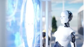 People and robots. Sci fi station. Futuristic monorail transport. Concept of future. Realistic 4K animation. People and robots. Sci fi station. Futuristic stock footage