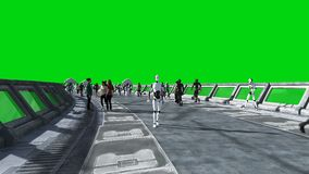 People and robots. Sci fi tonnel. Futuristic traffic. Concept of future. Green screen footage. Realistic 4K animation.