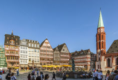 people at Roemerberg, a row of half-timbered houses at the east Royalty Free Stock Images