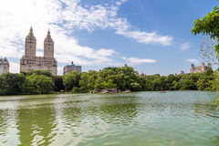 People roll boats Central park in summer, NYC. Royalty Free Stock Photography
