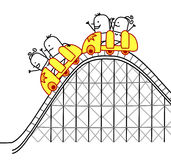 People on roller coaster. Vector hand drawn cartoon characters Royalty Free Stock Photo