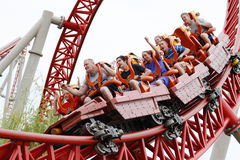 People on roller coaster  Royalty Free Stock Image