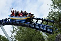 People on a roller-coaster in Europa park stock photography
