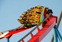 People on a Rollercoaster Ride Stock Image