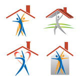 People and roof icons. Four icons with people under roofs. Concept for real estate presentation. Vector available Royalty Free Stock Photography