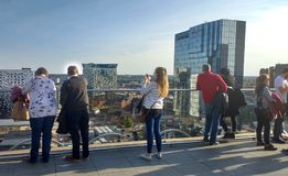 People on the roof terrace of the Library of Birmingham, England Royalty Free Stock Photos