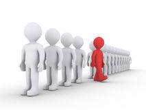 People in a row and one is leaving. 3d people are standing in a row and one is walking away Stock Photography