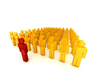 People in a row001. 3d people standing in a row with a leader001 royalty free illustration