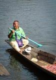 People rowing boat on Inle Lake, Myanmar Royalty Free Stock Photos