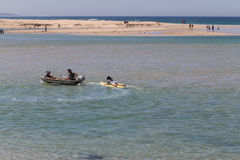 People rowing in lakes entrance,australia Royalty Free Stock Photo