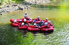 People in rubber canoes, Matlock Bath. Stock Photos