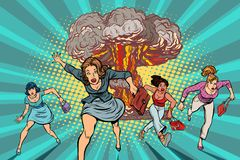 People run away from a nuclear explosion. Pop art retro vector illustration comic cartoon kitsch drawing vector illustration