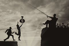People run for bag with money into abyss and businessman manipulates vector illustration