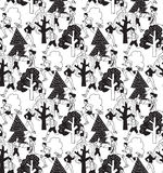 People run in park health life on white seamless pattern. Royalty Free Stock Photo