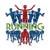 People run, Runner ,Marathon running, Team work running, Group of people running with text running. Illustration graphic vector royalty free illustration