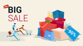 People Run With Shopping Cart Bag Present Box Black Friday Big Sale Banner Royalty Free Stock Photography
