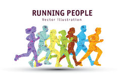 People run sport marathon color silhouette. Stock Image