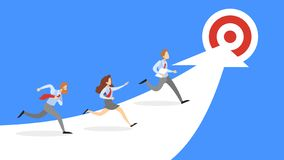 People run to the business goal. Idea of success stock illustration