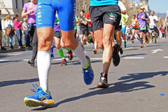 People run in the Zurich Barcelona Marathon through the streets of the city Royalty Free Stock Photos